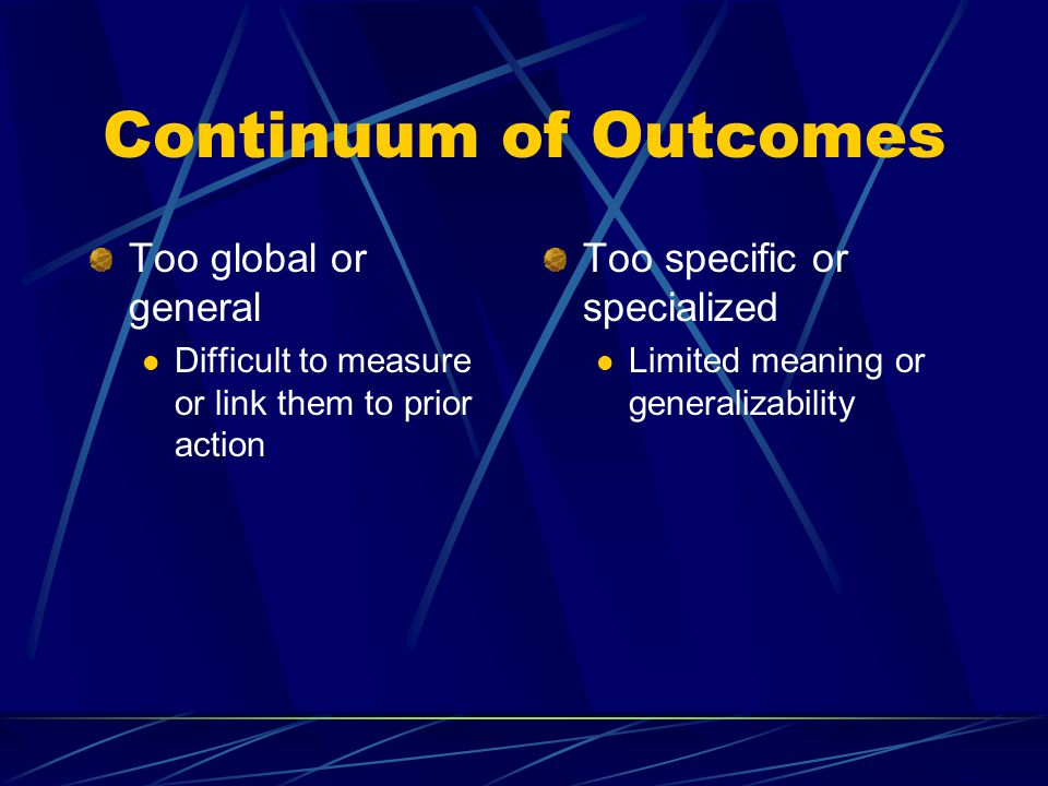 Continuum of Outcomes Too global or general