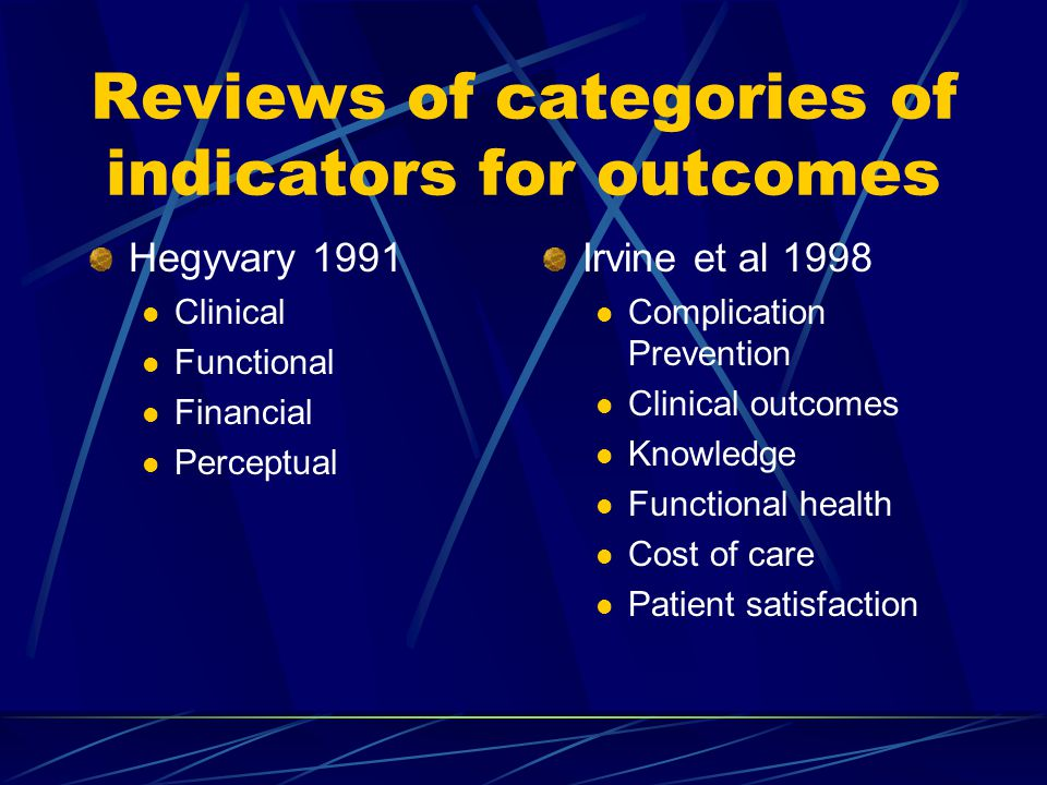 Reviews of categories of indicators for outcomes