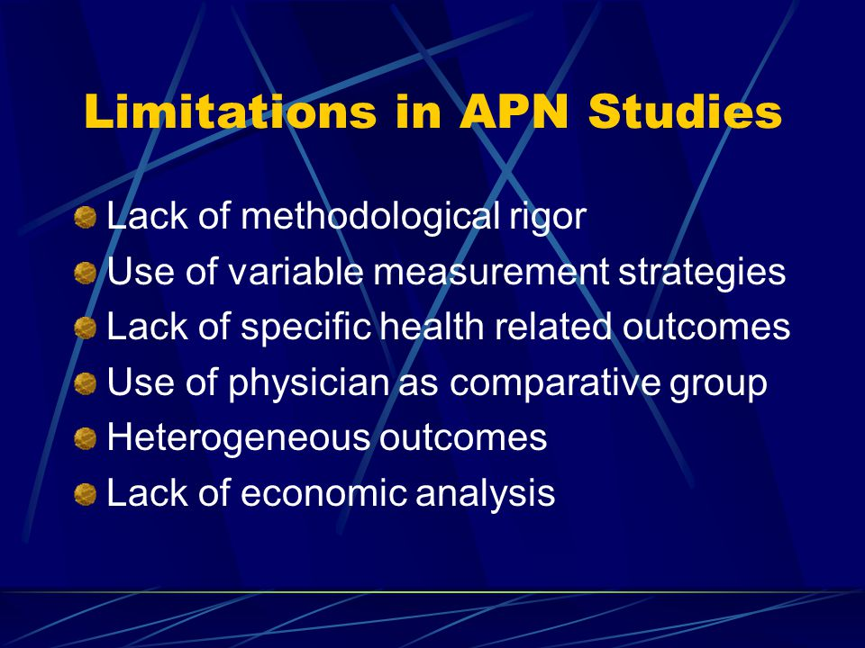Limitations in APN Studies