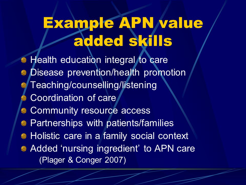Example APN value added skills