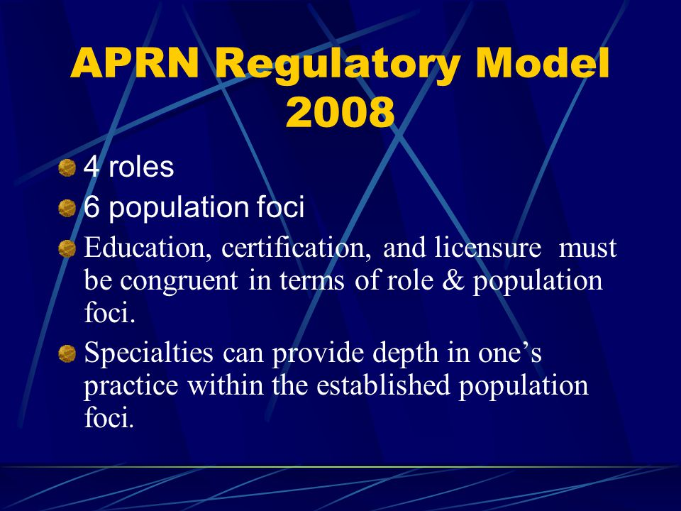 APRN Regulatory Model roles 6 population foci