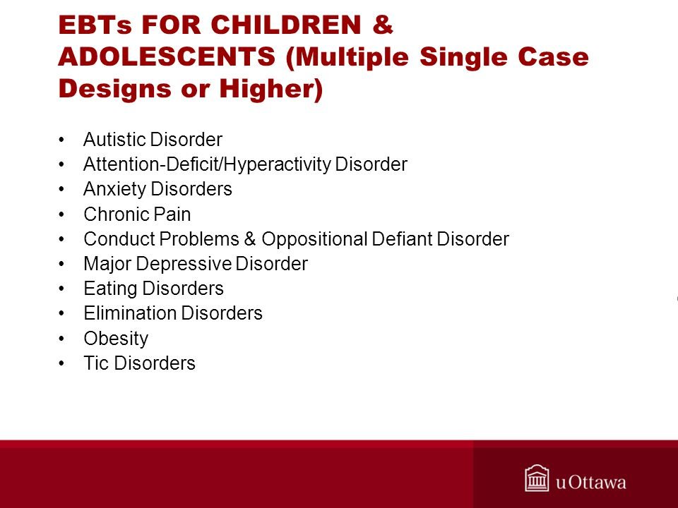 EBTs FOR CHILDREN & ADOLESCENTS (Multiple Single Case Designs or Higher)