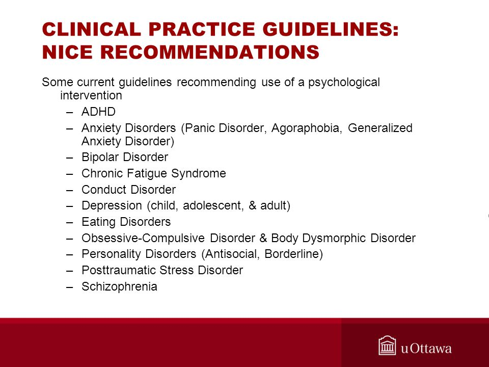 CLINICAL PRACTICE GUIDELINES: NICE RECOMMENDATIONS