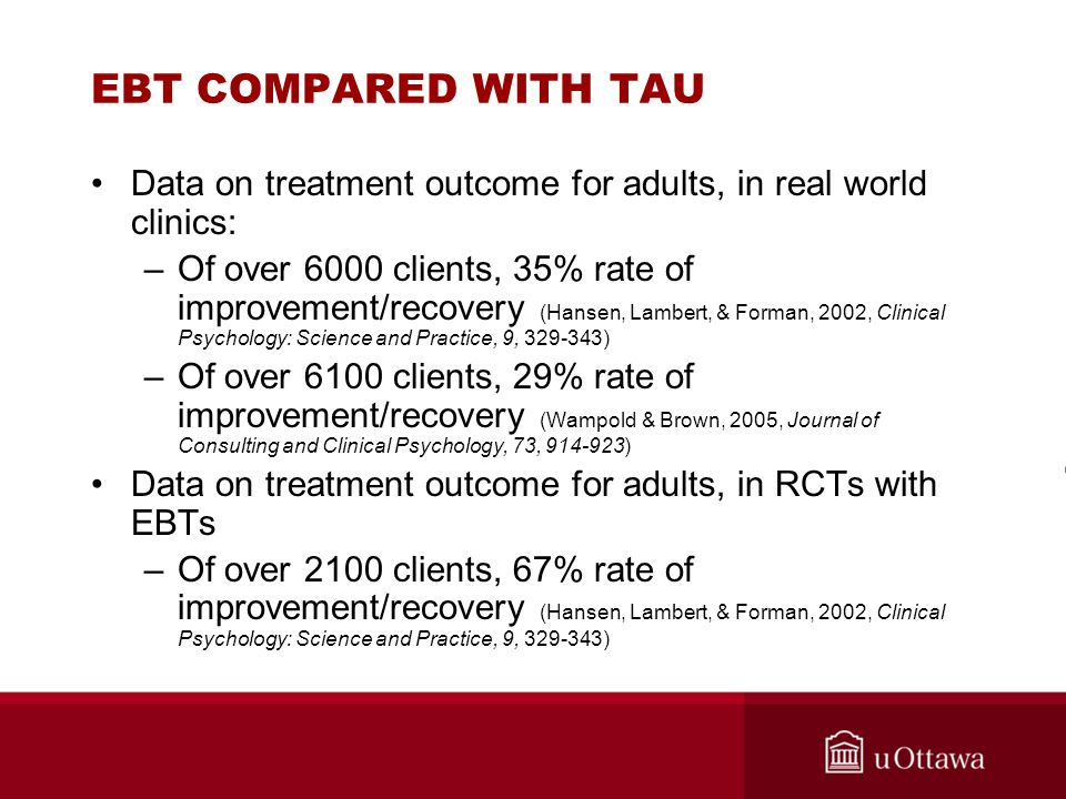 EBT COMPARED WITH TAU Data on treatment outcome for adults, in real world clinics: