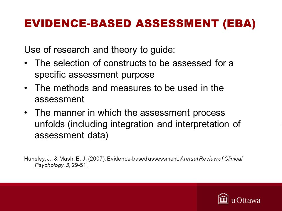 EVIDENCE-BASED ASSESSMENT (EBA)