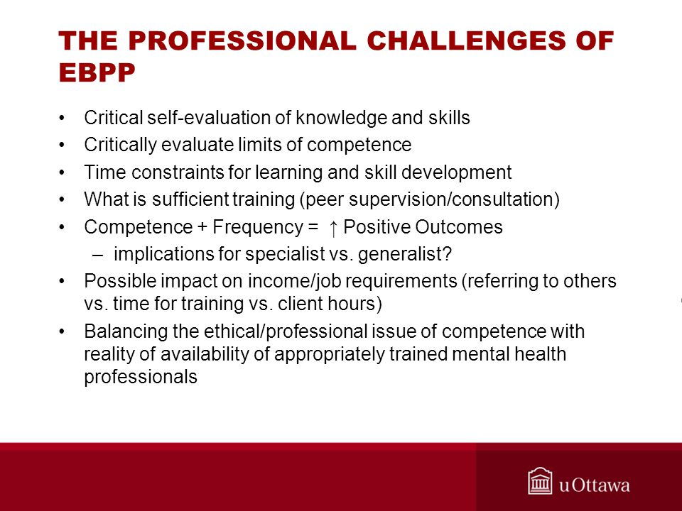 THE PROFESSIONAL CHALLENGES OF EBPP