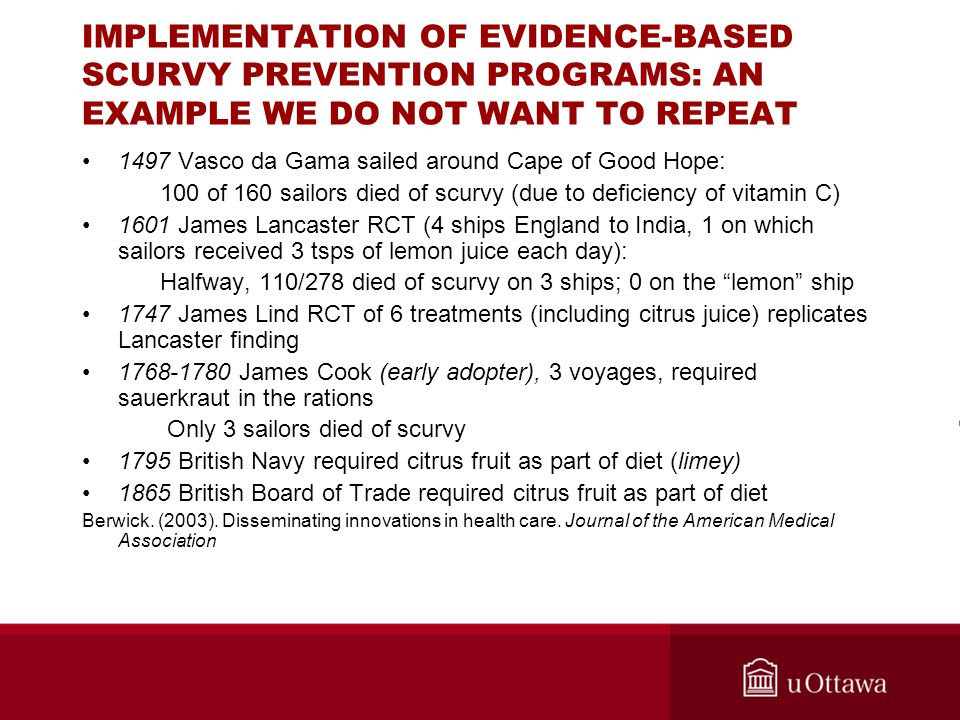 IMPLEMENTATION OF EVIDENCE-BASED SCURVY PREVENTION PROGRAMS: AN EXAMPLE WE DO NOT WANT TO REPEAT