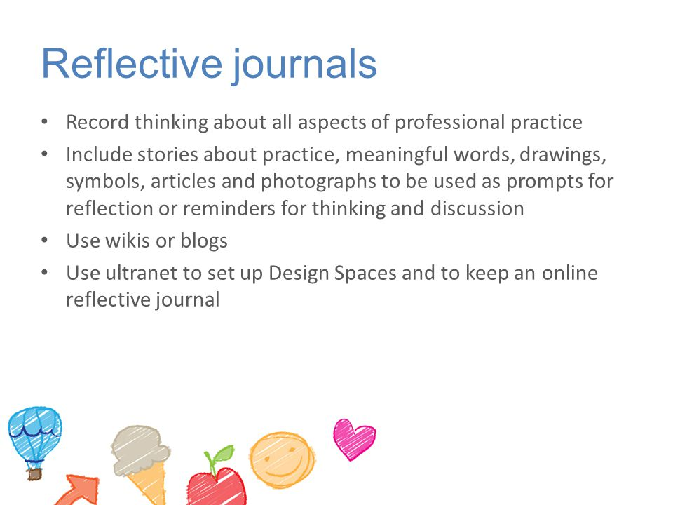 Reflective journals Record thinking about all aspects of professional practice.