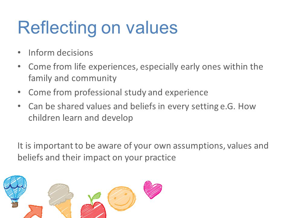 Reflecting on values Inform decisions