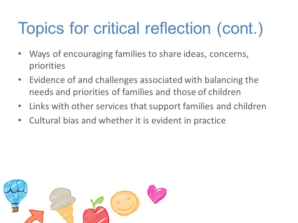 Topics for critical reflection (cont.)