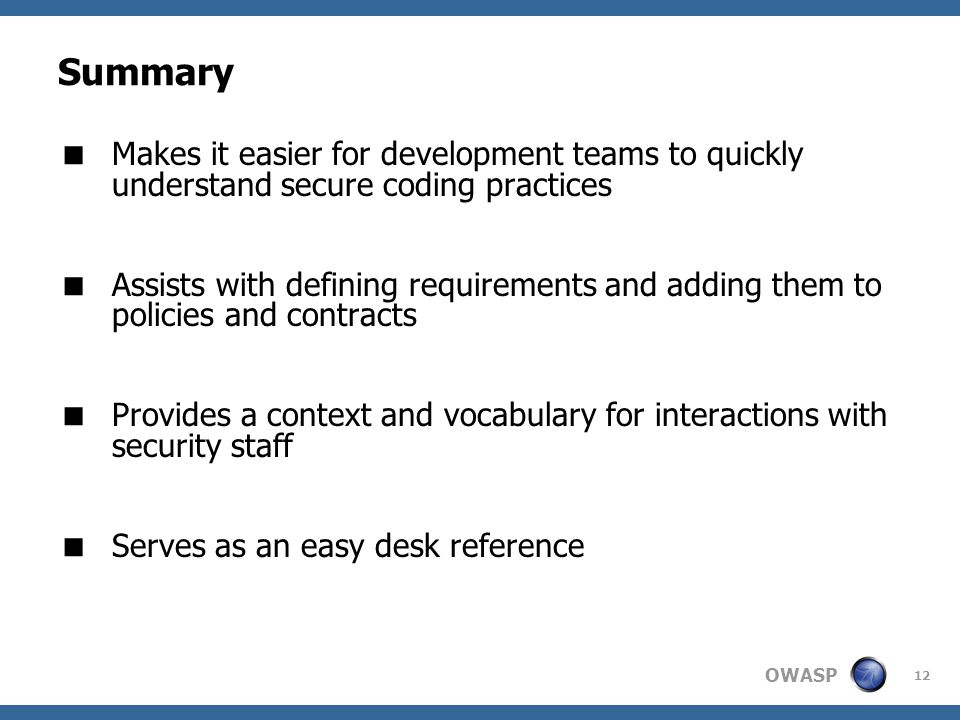 Summary Makes it easier for development teams to quickly understand secure coding practices.