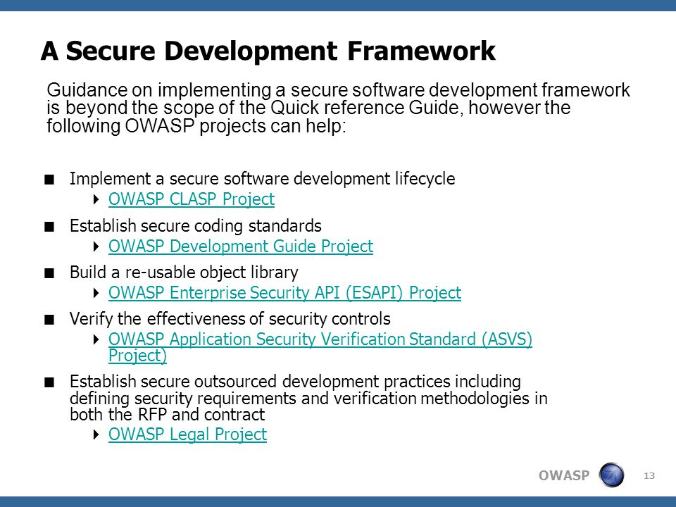 A Secure Development Framework