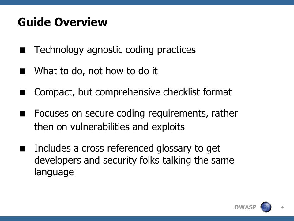 Guide Overview Technology agnostic coding practices