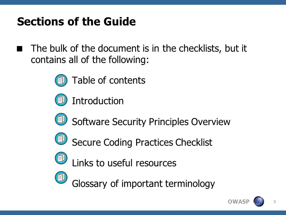 Sections of the Guide The bulk of the document is in the checklists, but it contains all of the following:
