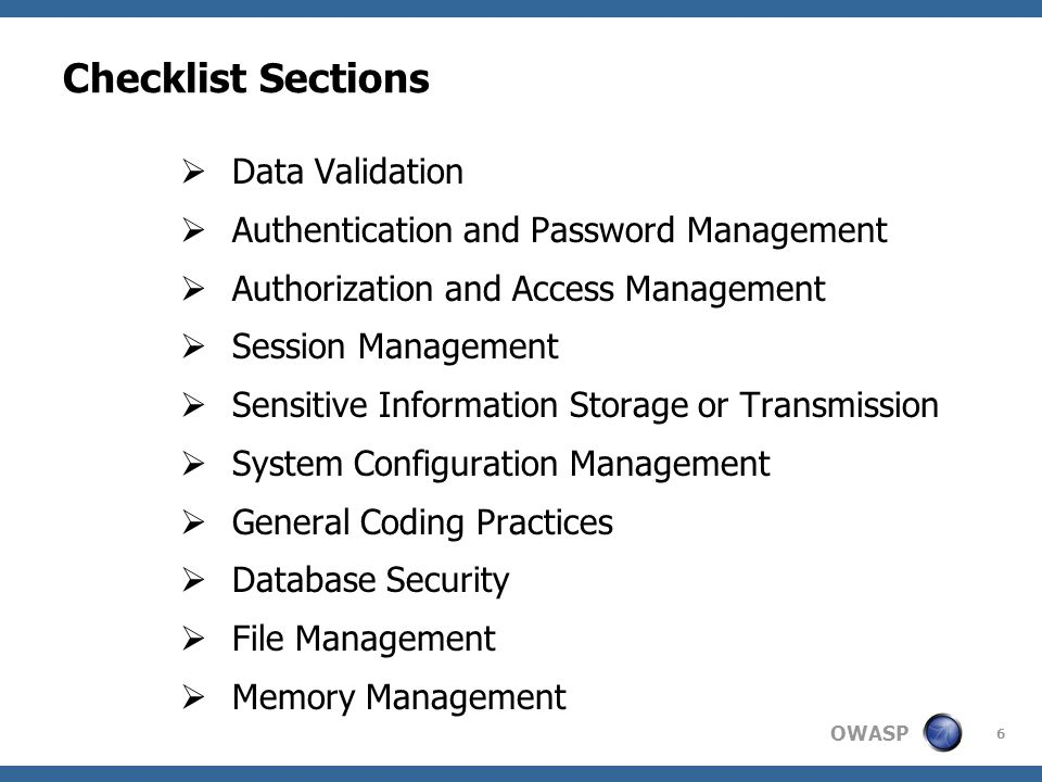 Checklist Sections Data Validation
