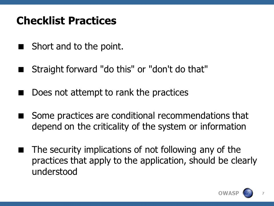 Checklist Practices Short and to the point.