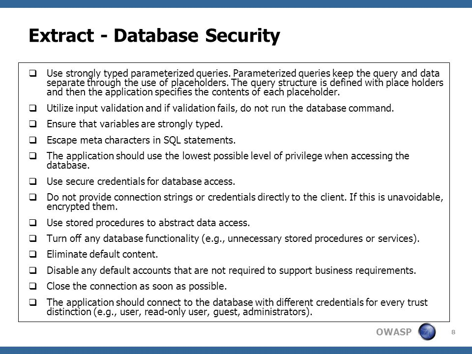 Extract - Database Security