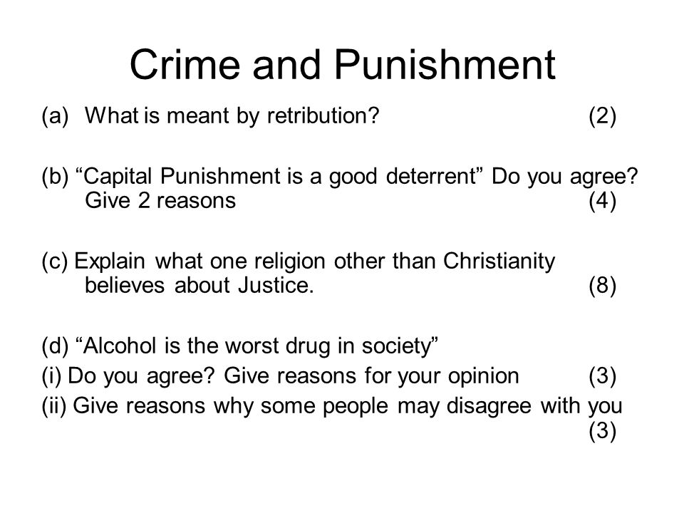 Crime and Punishment What is meant by retribution (2)