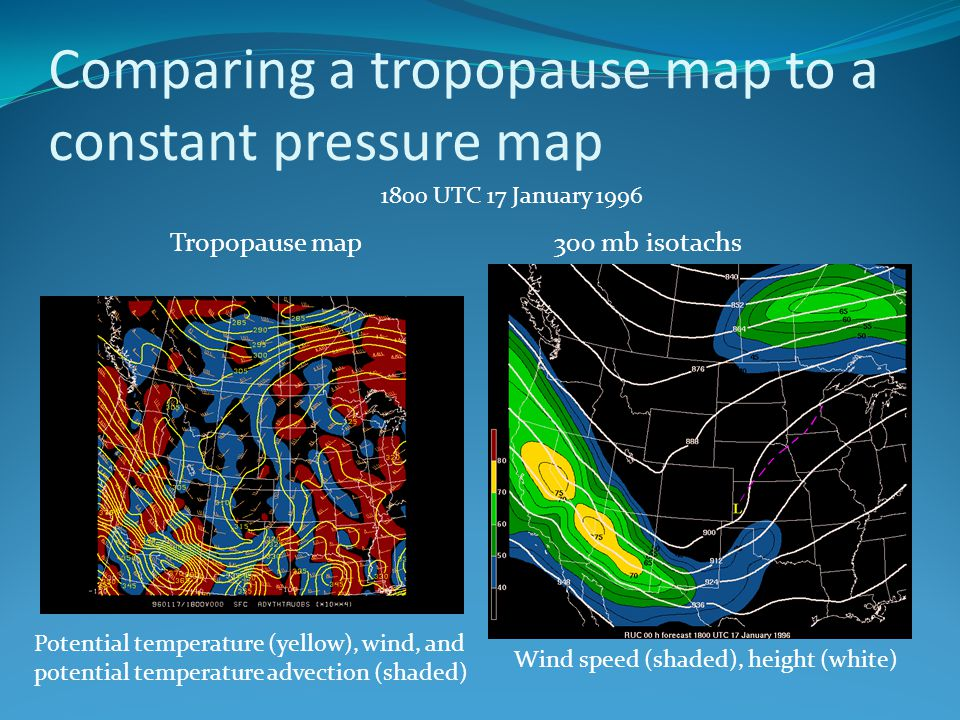 Comparing a tropopause map to a constant pressure map