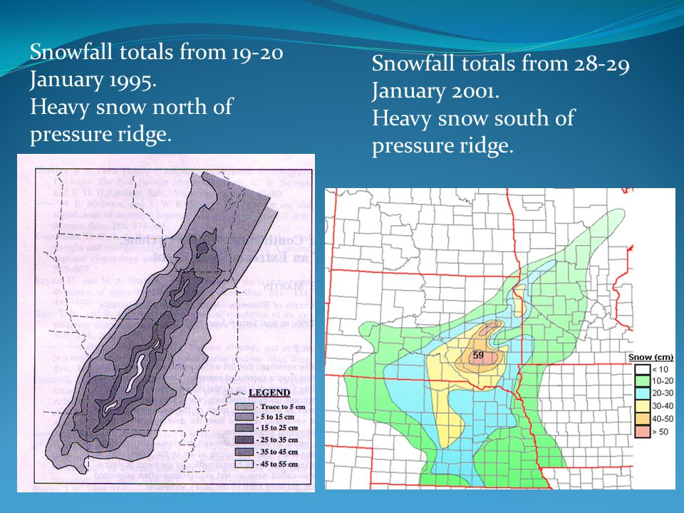 Snowfall totals from January 1995.