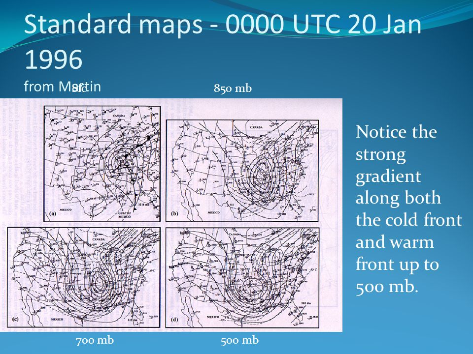 Standard maps - 0000 UTC 20 Jan 1996 from Martin