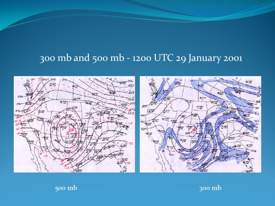300 mb and 500 mb - 1200 UTC 29 January 2001 500 mb 300 mb