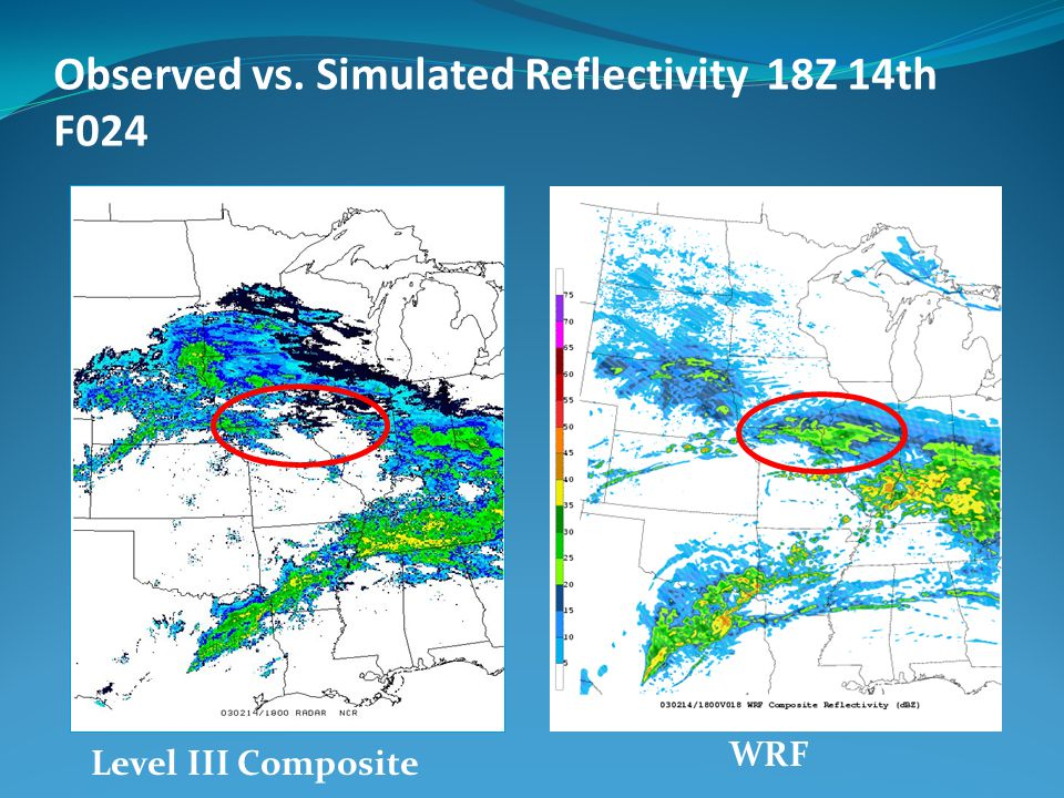 Observed vs. Simulated Reflectivity 18Z 14th F024