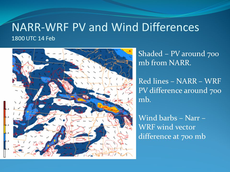 NARR-WRF PV and Wind Differences 1800 UTC 14 Feb