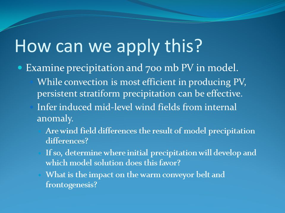 How can we apply this Examine precipitation and 700 mb PV in model.