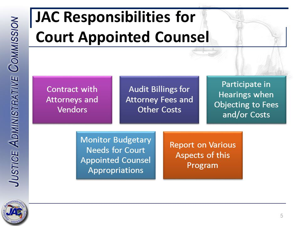 JAC Responsibilities for Court Appointed Counsel