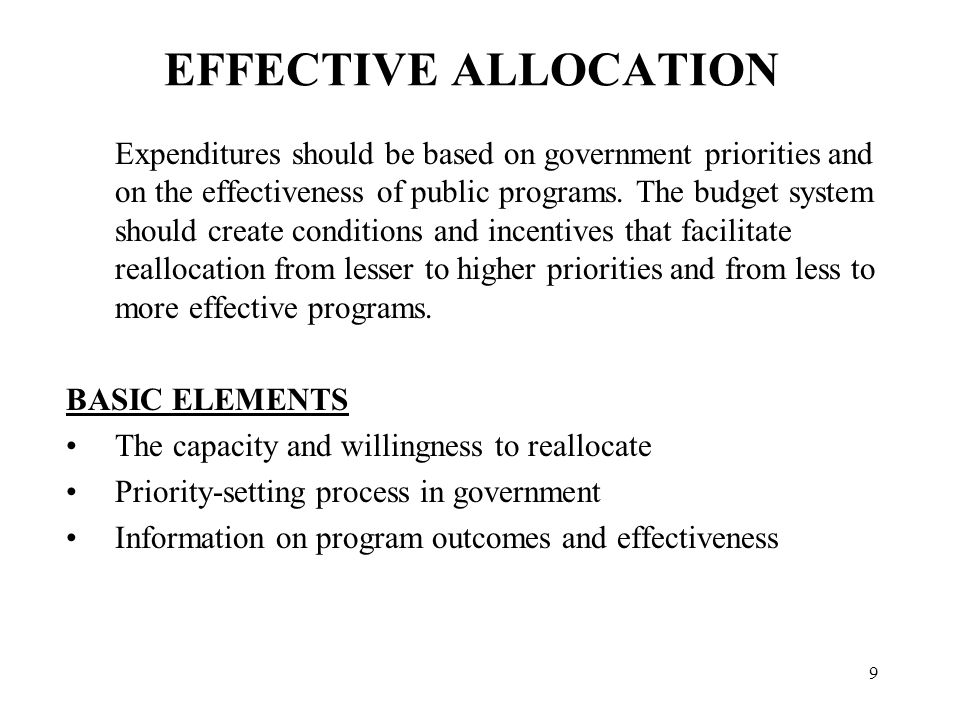 IMPEDIMENTS TO EFFECTIVE ALLOCATION