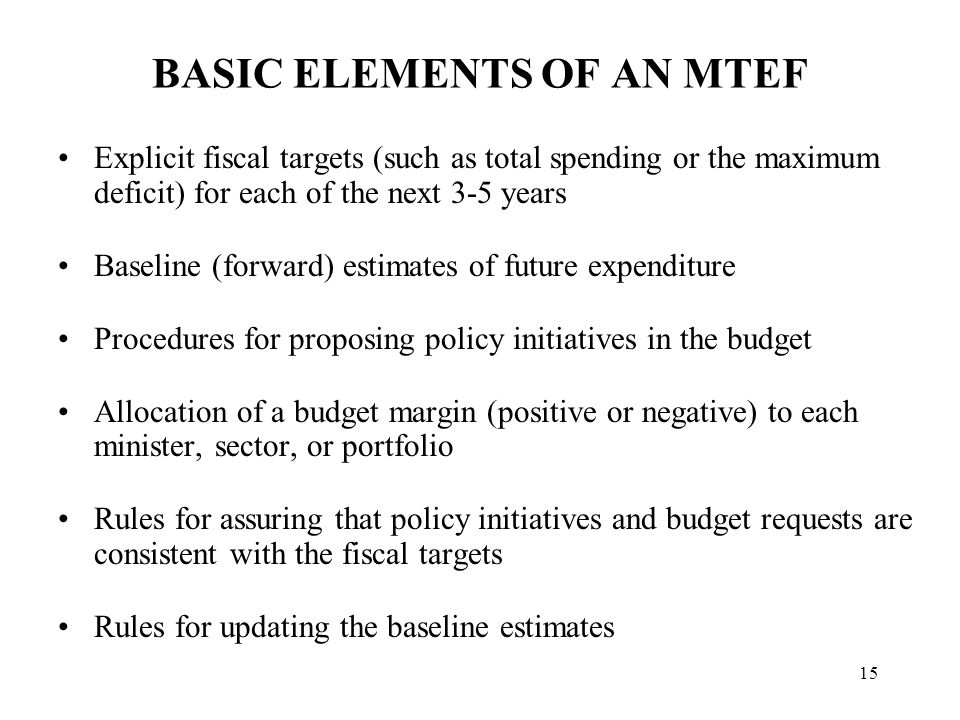 THE MTEF BUDGET CONSTRAINT
