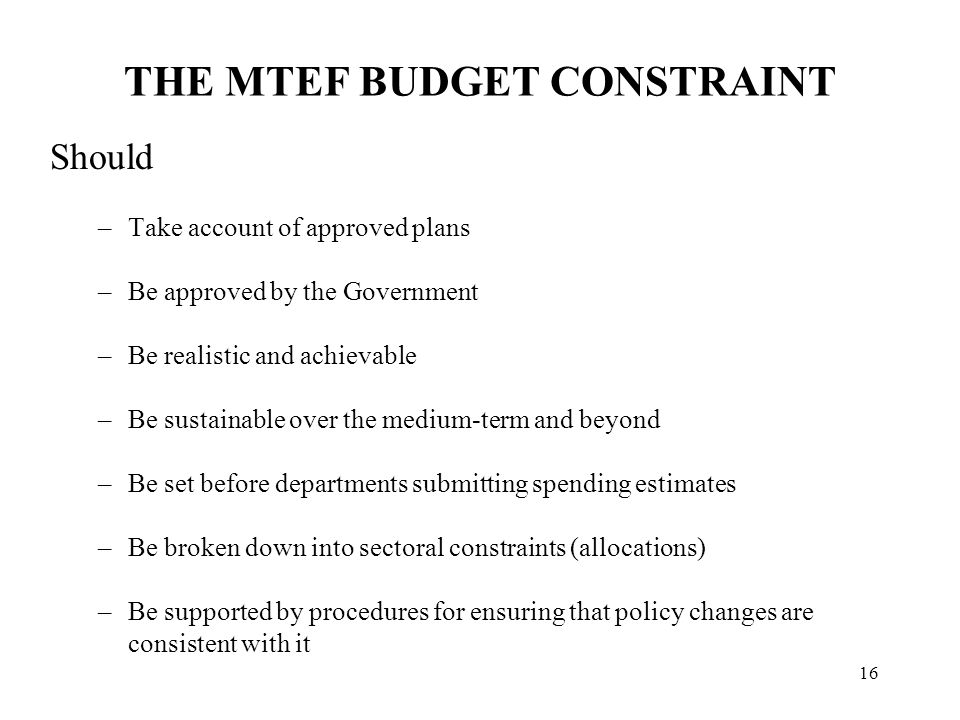 ISSUES IN OPERATING AN MTEF