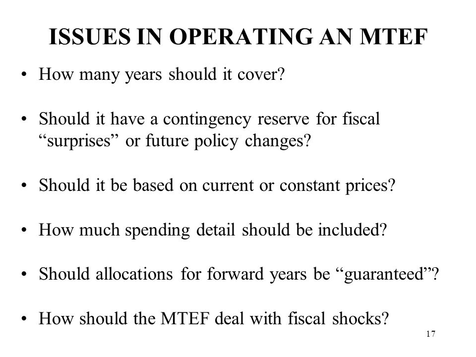MTEF DOES NOT GUARANTEE EFFECTIVE ALLOCATION