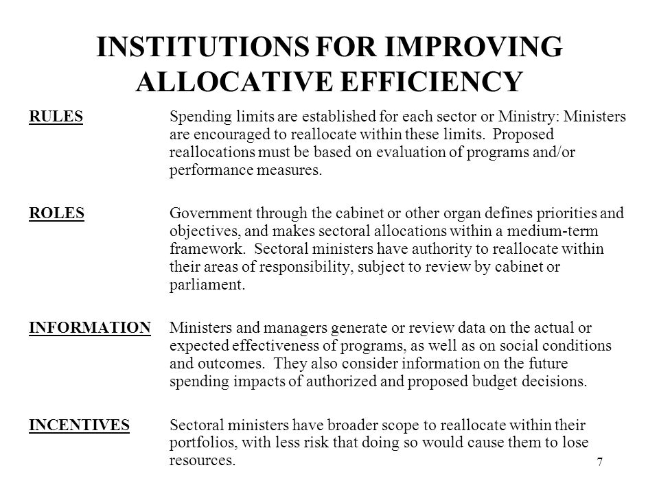 INSTITUTIONS FOR OPERATIONAL EFFICIENCY