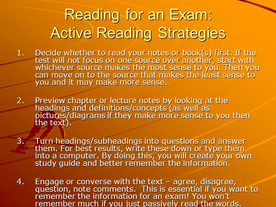 Reading for an Exam: Active Reading Strategies