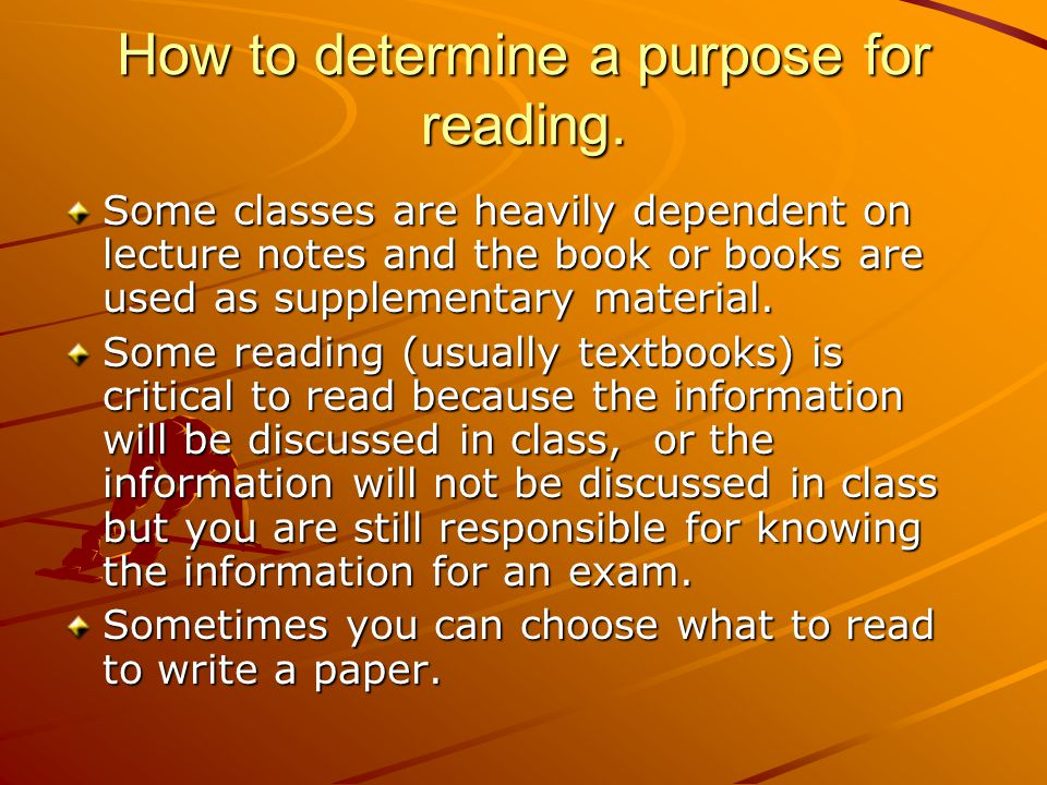How to determine a purpose for reading.