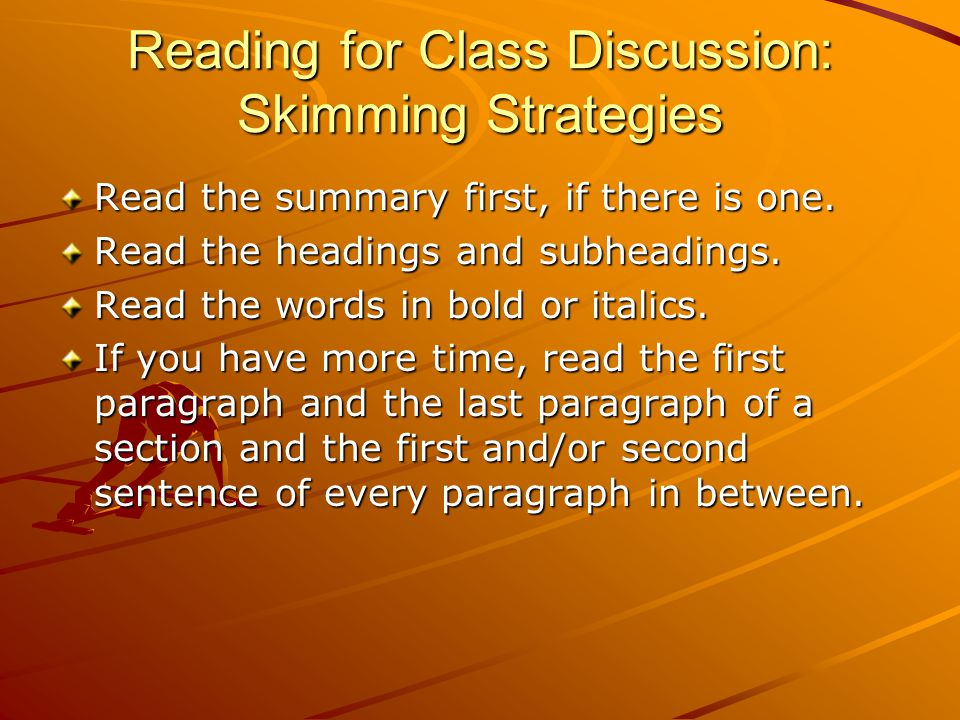 Reading for Class Discussion: Skimming Strategies