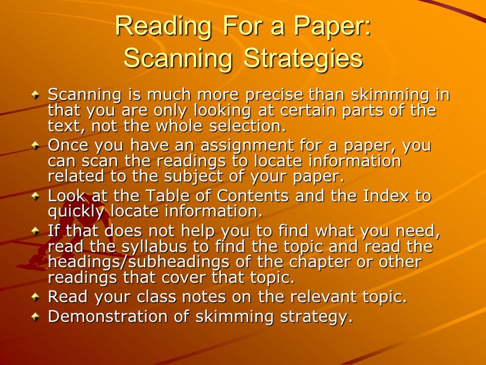 Reading For a Paper: Scanning Strategies