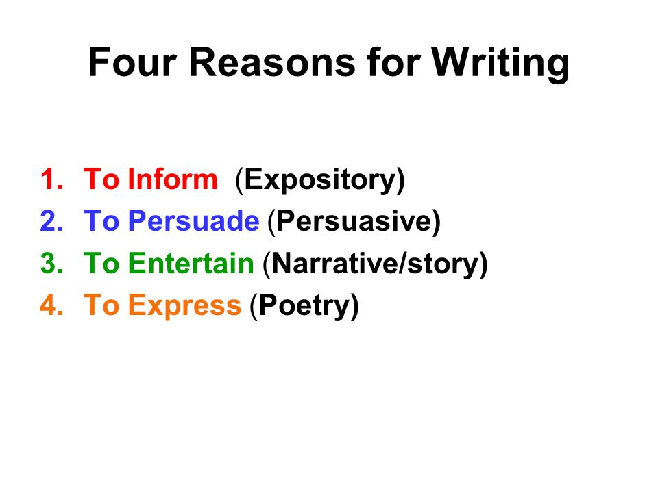 Four Reasons for Writing