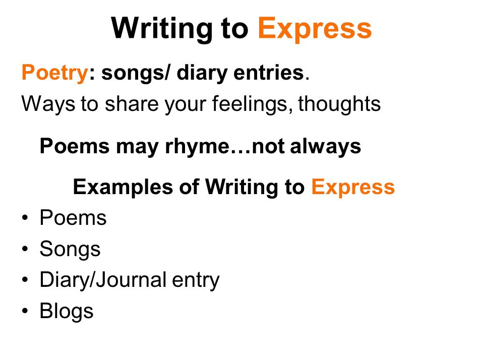 Examples of Writing to Express