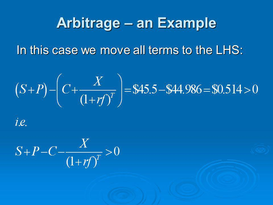 Arbitrage – an Example In this case we move all terms to the LHS: