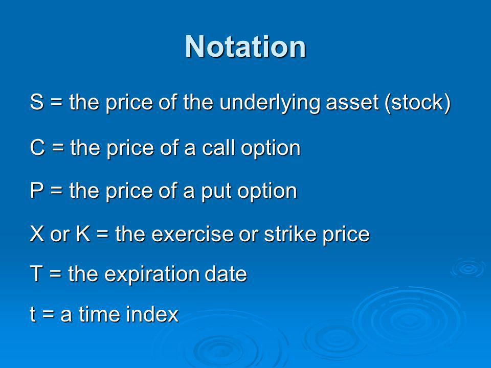 Notation S = the price of the underlying asset (stock)