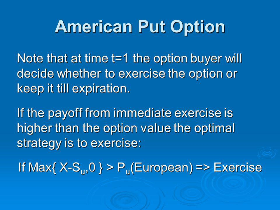 If Max{ X-Su,0 } > Pu(European) => Exercise