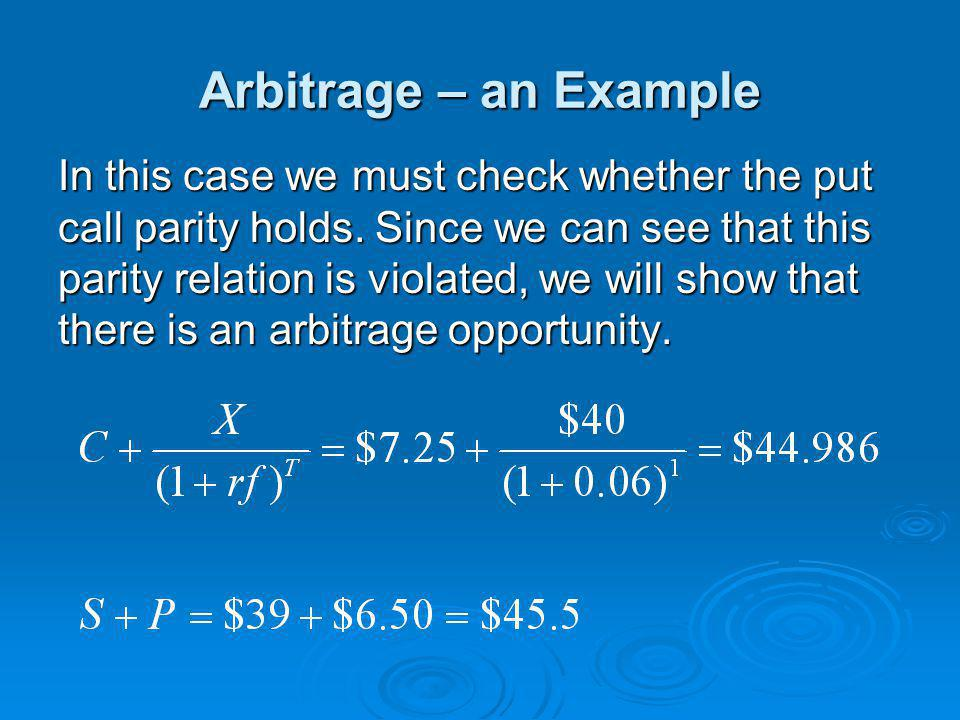 Arbitrage – an Example
