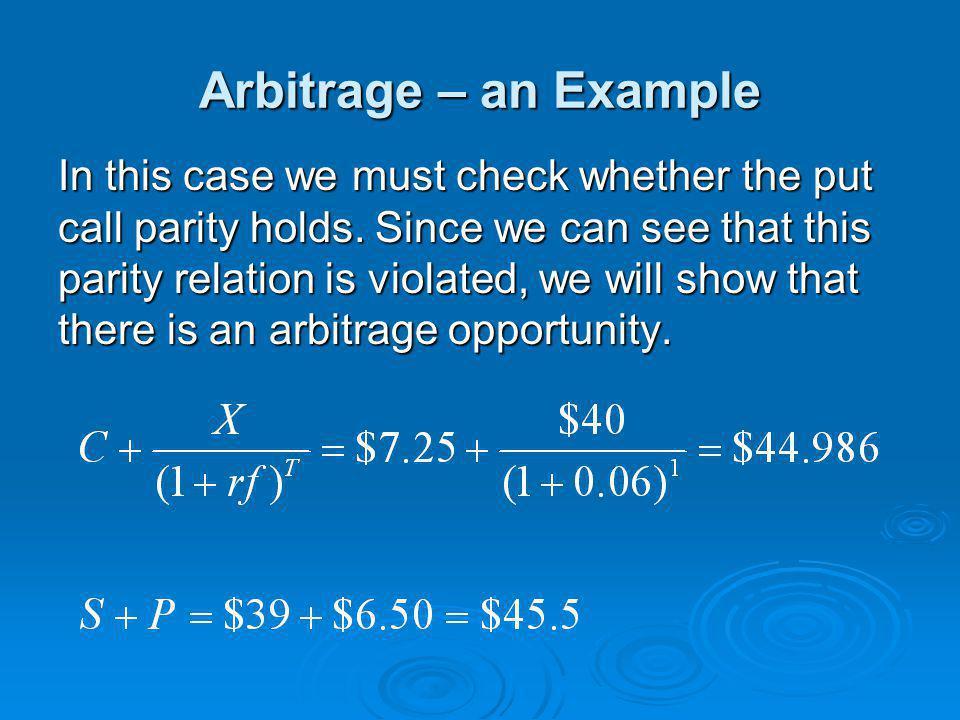 Arbitrage – an Example
