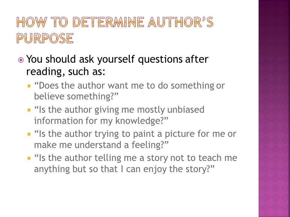 How to determine author's purpose