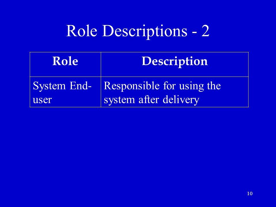 Role Descriptions - 2 Role Description System End-user