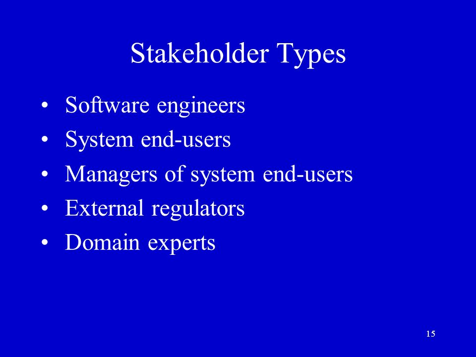 Stakeholder Types Software engineers System end-users