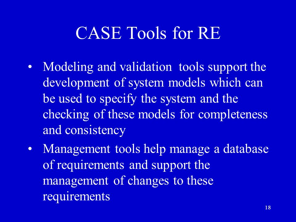 CASE Tools for RE